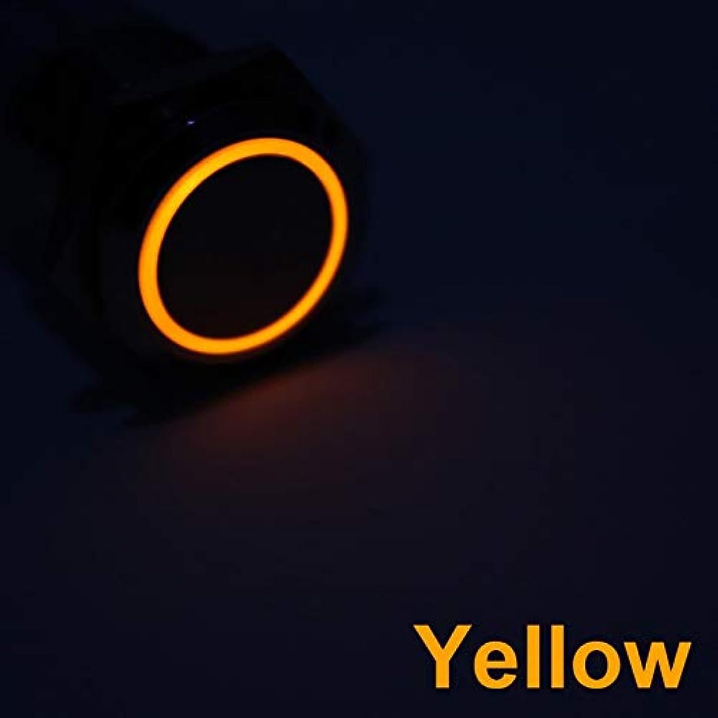 専らゲートタイプDYWJ 16ミリメートル金属プッシュボタンスイッチ電源ボタン防水平坦な円形ボタンLEDライトセルフロックセルフリセットボタン1NO1NC 6V、12V (Color : Yellow light, Size : Momentary Reset)