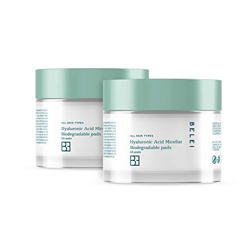 Amazon-Marke: Belei - Mizellen-Reinigungspads mit Hyaluronsäure, biologisch abbaubar, 2-er Pack x 60 Stück