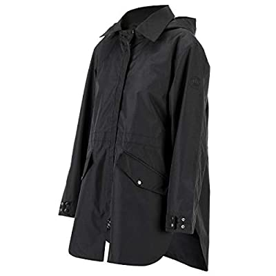 Gonex Lightweight Outdoor Rain Jacket for Women, Reinforced Waterproof & Breathable Coat,with Removable Hood for Hiking, Climbing, Running, Camping, Cycling, Black L