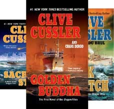 The OREGON FILES 13-book series set by Cussler -- Golden Buddha / Sacred Stone / Dark Watch / Skeleton Coast / Plague Ship / Corsair / Silent Sea / Jungle / Mirage / Piranha / plus ++