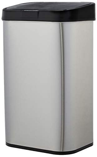 AmazonBasics Poubelle automatique en acier inoxydable - Rectangulaire, 60 litres