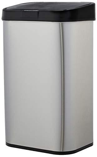 AmazonBasics - Cubo de basura automático de acero inoxidable, rectangular, 60 litros