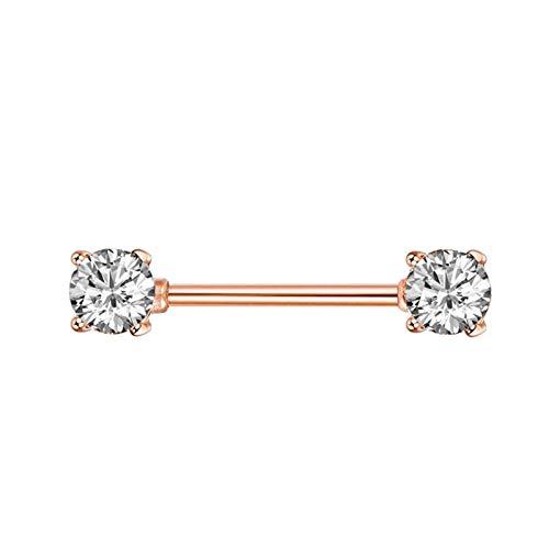HLWJ Hundido 1 unids/Lote Cristal en Forma de corazón Nipple Anillo Barbell Lady Body Bodyry (Color : Style 1 Rose Gold)