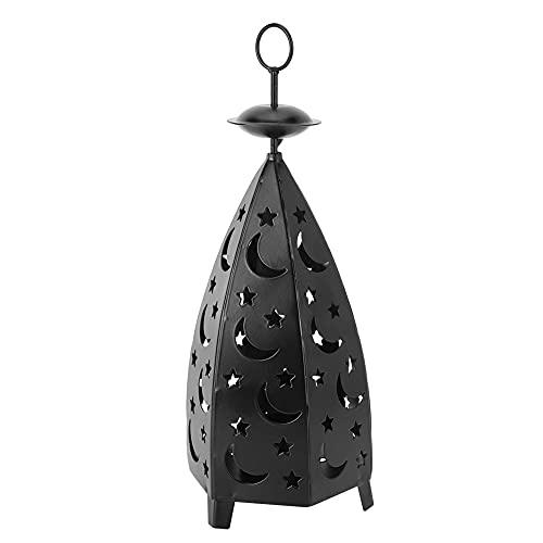 HERCHR Portavelas Decoracion Faroles, Los Candelabros de la Luna de la Estrella del Vintage, Farol Oriental de Metal Negro 27.5 * 10.5 cm