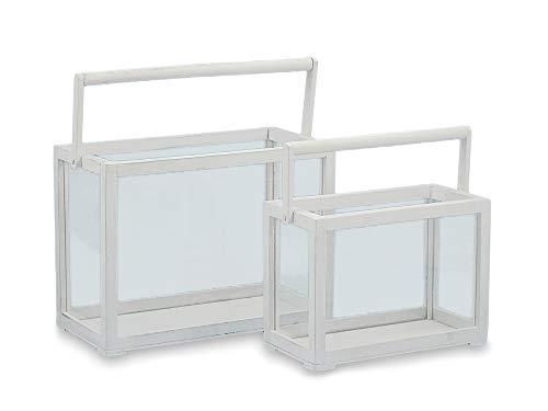 DISRAELI Set 2 pz Lanterne Rettangolari in Legno Bianco e Vetro 40x20x29 cm