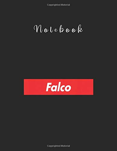 Notebook: Falco Name Red Box Logo Family Reunion Funny Lined Pages Notebook White Paper Journal Notebook with Black CoverLarge Size 8.5in x 11in x 111 pages for Kids or Friends Germany