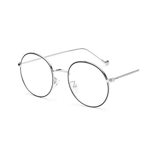 NJKJ Brillen Runde Metallgläser Mit Abschluss Männer Frauen Ultraleichte Myopie-Gläser -0.5 -1 -1.5 -2 -2.5 -3 -3.5 -4 -4.5 -5 -6.0-Schwarz-Silber_-0.5