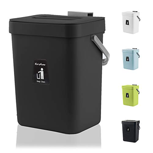 KaryHome Compost Bin Indoor Kitchen Sealed, Hanging Small Trash Can with Lid Under Sink for Kitchen Bathroom,Mountable Compost Bucket (Black)