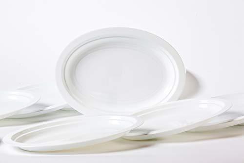 Pack 100 Platos Plástico Duro, Blanco, Ovalado 25cm x 18,3cm - Lavable y Reutilizable - Vajilla Desechables para Catering Bodas Fiestas Cumpleaños Navidad. Grandes Calidades