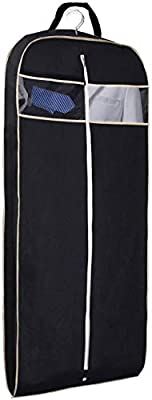 """MISSLO 43"""" Gusseted Travel Garment Bag with Accessories Zipper Pocket Breathable Suit Garment Cover for Shirts Dresses Coats, Black"""
