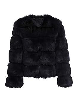 Simplee Women Luxury Winter Warm Fluffy Faux Fur Short Coat Jacket Parka Outwear  Black 8