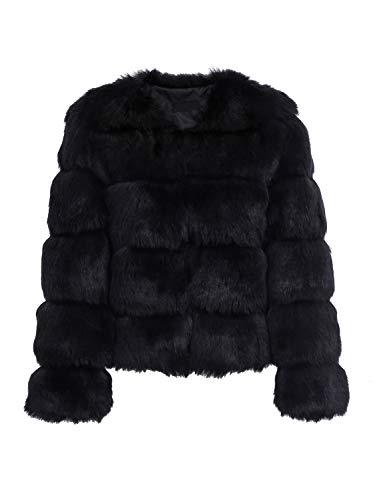 Simplee Apparel Damen Mantel Winter Elegant Warm Faux Fur Kunstfell Jacke Kurz Mantel Coat Schwarz