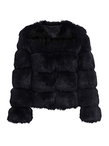 Simplee Apparel Damen Mantel Winter Elegant Warm Faux Fur Kunstfell Jacke Kurz Mantel Coat Schwarz