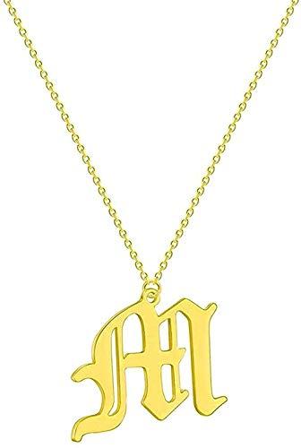 BEISUOSIBYW Co.,Ltd Collar Collar fácil Collar de 26 Letras Iniciales Nombre de Mujer Collar de Cadena étnica de Novia de Acero Inoxidable Collar