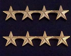4 Stars 5/8 Corrugated Gold Pair Collar PINS Rank Insignia Police Chief/Deputy by HighQ Store