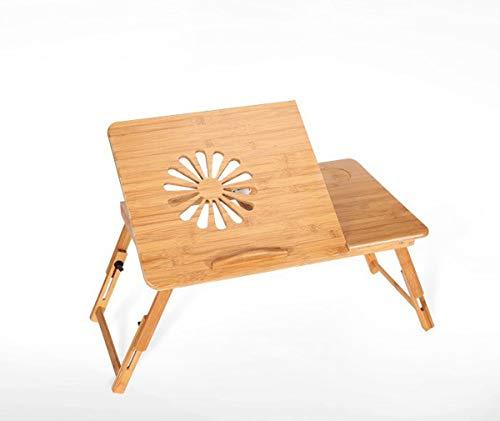 Conveniente Mesa de bambú de computadora ajustable plegable, escritorio de la cama portátil con mesa de enfriamiento Escritorio de mesa Desayuno plegable Sirviendo Bandeja Multifunción ( Size : 38cm )