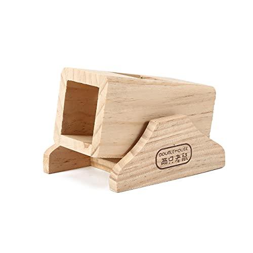 SABAN - Casa de juegos para hámster de madera, hámster pequeño animal, hámster y juguetes pequeños balancín, para hámster, natural Living caseta redonda, 11,5 x 9 x 8 cm