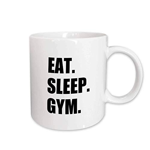 Mug_180409_2 Eat Sleep - Taza de cerámica con texto en inglés 'Eat Sleep Gym'
