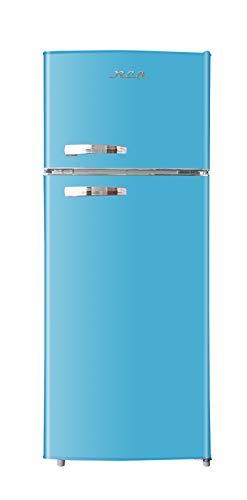 RCA RFR1055-BLUE, Retro 2 Door Apartment Size Refrigerator with Freezer, 10, Blue, cu ft