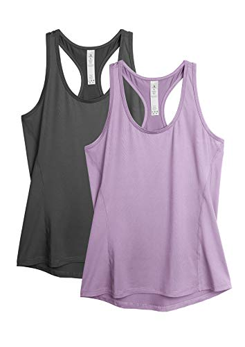icyzone Damen 2-Pack Sport Tank Top Racerback Yoga Oberteile Fitness Gym Shirts (S, Dunkelgrau/Lila)