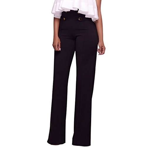 LAEMILIA Damen Marlenehose Business Stoffhose Anzughosen Hohe Taille Elegante Bootcut Hose Classic Schlaghose Festlich Abendmode Partywear … (EU38/40=Tag L, Schwarz)