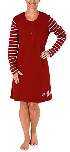 NORMANN-Wäschefabrik Damen Interlock Nachthemd mit süssem Hunde Motiv - auch in Übergrössen - 281 213 96 226, Farbe:rot, Größe2:60/62