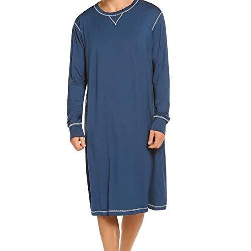 Herren Langarm Schlafanzug Schlafoveralls Nachtwäsche V-Ausschnitt Knielang Schlafkleid nachthemden Kurz Pyjama Oberteil für Männer Sommer (Blau, XL)