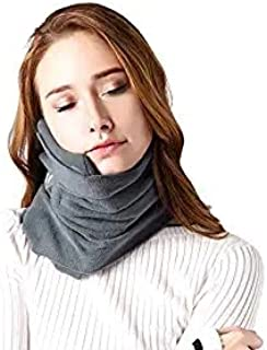DAPAWIN Neck Support Travel Pillows for Airplanes, Soft Comfortable Travel Neck Pillow Scarf for Unisex Men Women Kids Airplane Sleep Pillow with Adjustable Strap- Machine Washable (Gray)