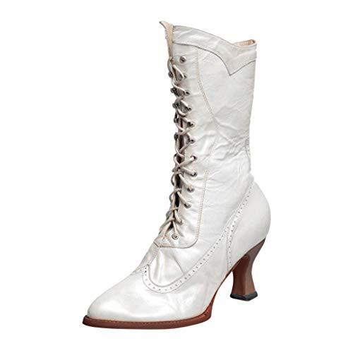 Stiefel Damen Blockabsatz Halbschaft Schnürstiefel Einfarbiges Schnürsenkel Spitzschuhe PU Vintage Schuhe Damenschuhe (38 EU, Weiß)