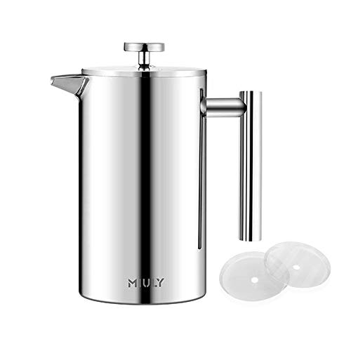 Miuly French Press - Cafetera (0,35 L, doble pared, acero inoxidable, prensa francesa, con...
