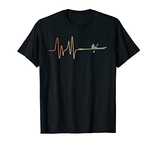 Herzschlag Herzfrequenz Herzlinie Kanu Paddelboot Kajak Boot T-Shirt