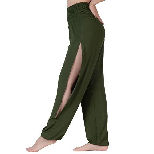 Lofbaz Pantalones de Yoga con Aberturas Sutiles para Mujer con Pantalones de Chándal de Cintura Alta Ropa Maternidad Verde Oscuro L