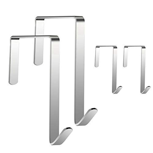 JJDPARTS Over The Door Hook, 4 Pack Stainless Steel Door Hook, Door Hangers and Over The Door Hooks for Hanging Clothes, Towels, Coats, Handbags and More
