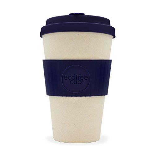 Ecoffee Cup Blue Nature wiederverwendbare Bambus-Kaffeetasse, 400 ml, Blau und Cremefarben