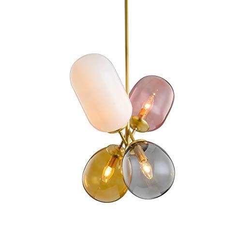 Asncnxdore Diseño Posmoderno Nórdica Creativa De Vidrio De Colores Globo Lámpara De Hoteles For Niños Sala De Exposición Restaurante Sencillo Candelabro 48 * 110cm