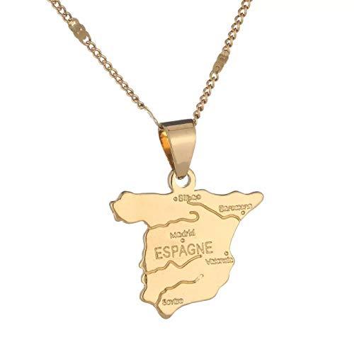 N/A Halskette Anhänger Gold Farbe Spanien Karte Anhänger Halskette Spanische Landkarte Charme Schmuck Muttertag Weihnachten Geburtstagsfeier Geschenk