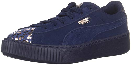 PUMA Unisex Suede Platform Kids Sneaker, Peacoat-Rose Gold, 11 M US Little