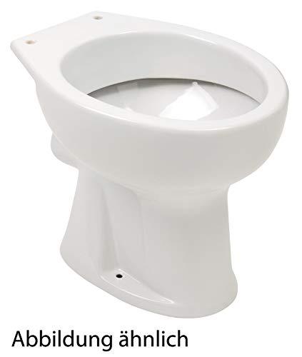 Calmwaters® - Universal - Stand-WC als Flachspüler mit waagerechtem Abgang in Weiß - 07AB2317