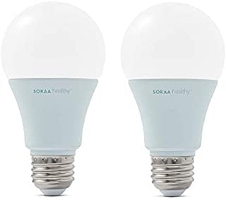 SORAA Healthy 2-Pack A19 LED Dimmable 550-Lumen Soft White (2700K), 60-Watt Equivalent Light Bulb, No Buzz, E26 Medium Base for Better Sleep