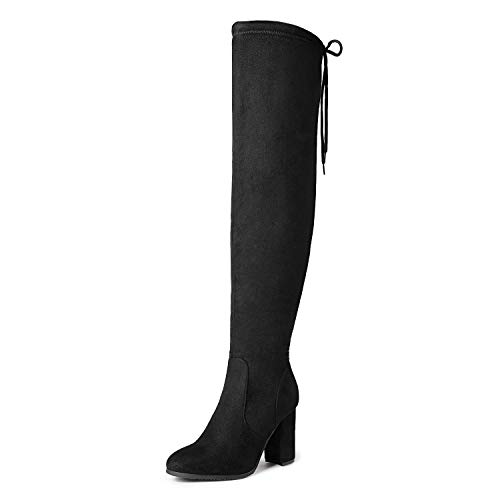 DREAM PAIRS Women's New Shoo Black Over The Knee High Heel Boots Size 9 B(M) US
