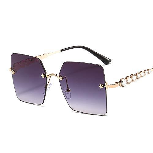 ZJMIYJ zonnebril, vierkante randloze zonnebril vrouwen nieuw merk Fashion Strass metaal brilmontuur grote beroemdheid kleurtinten voor mannen gouden frames