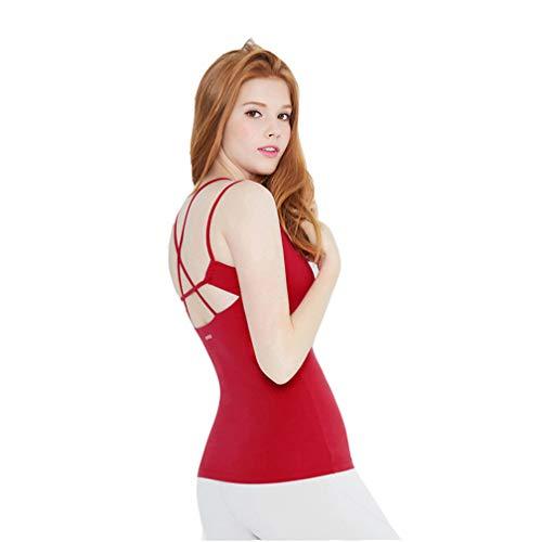 SZTB Camiseta Sin Mangas Fitness Yoga Chaleco Femenino Secado RáPido Deporte Running Fitness Yoga Ropa Tops,Red,S