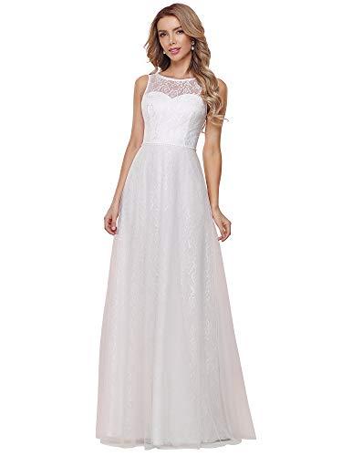 Ever-Pretty Vestito da Cerimonia Lungo Linea ad A Elegante Pizzo Senza Maniche Donna Abito da Sposa Bianco 40EU