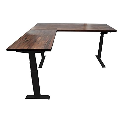 Stand Up Desk Store Triple Motor Electric L-Shaped Corner Standing Desk with EZ Assemble Frame (Black Frame/Solid Walnut Top, 71' W x 71' D)