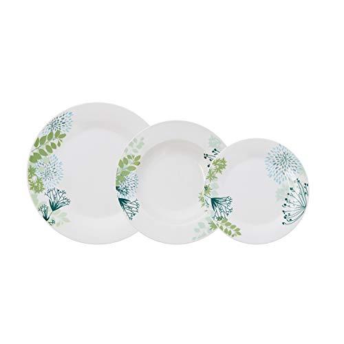 Bidasoa Botanic Vajilla Porcelana Blanca Decorada 18 Piezas Completa y Moderna (Platos...