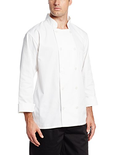 San Jamar J100 Chef Revival 24/7 Poly Cotton Blend Long Sleeve Basic Jacket with Clear Pearl Bottons, Medium, White
