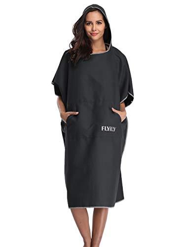 FLYILY Mikrofaser Surf Poncho Handtuch mit Kapuze Bademantel zum Schwimmen und Umziehen am Strand, Einheitsgröße für Erwachsene (schwarz)