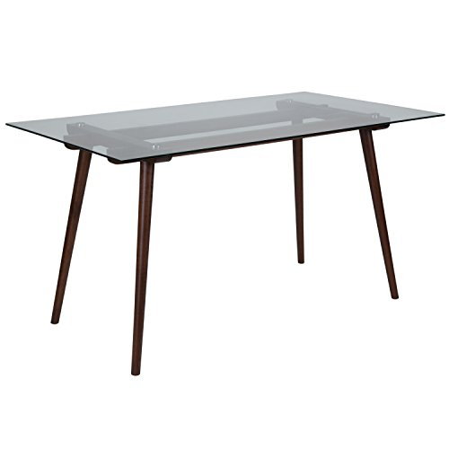 "Flash Furniture Meriden 31.5"" x 55"" Rectangular Solid Walnut Wood Table with Clear Glass Top"
