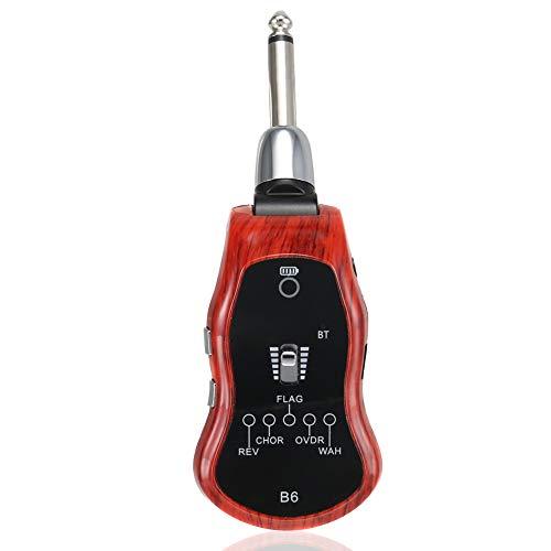 ieenay Wiederaufladbarer 2,4 GHZ Wireless Gitarrenverstärker System Digital Guitar Transmitter Receiver,Holzmaserung