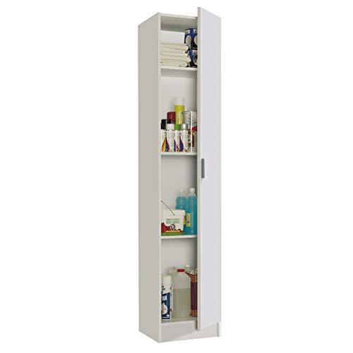 Habitdesign 007141O - Mueble Armario Multiusos, 1 Puerta, Color Blanco, Medidas: 37 cm (Largo) x 182...